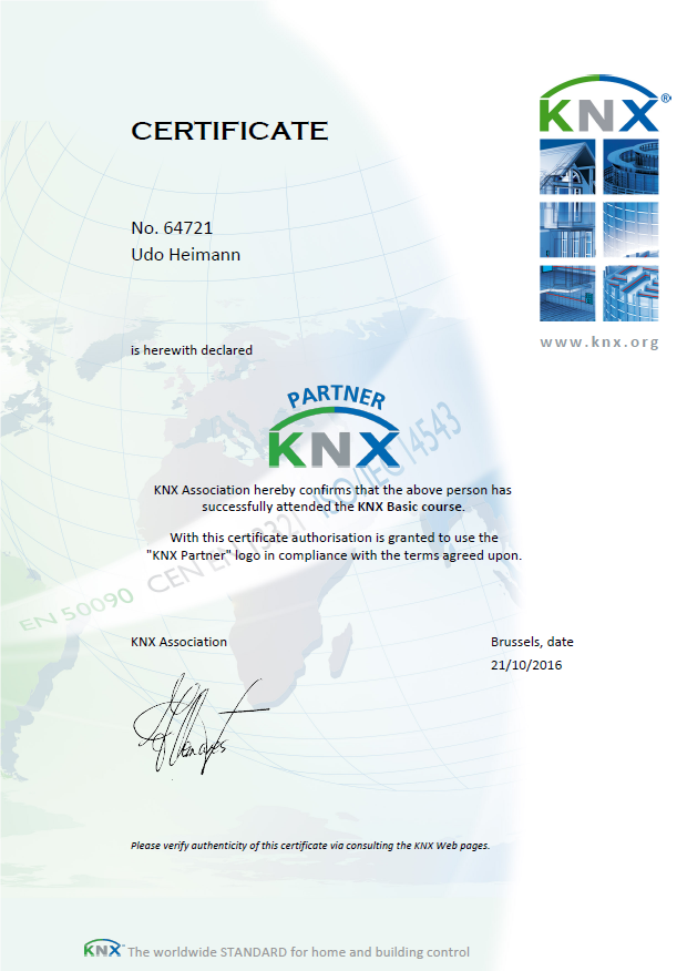 knx certificate